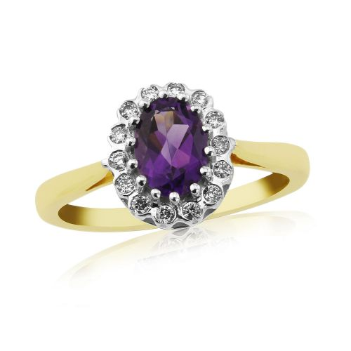 Amethyst And Diamond 9 Carat Yellow Gold Oval Cut Cluster Ring